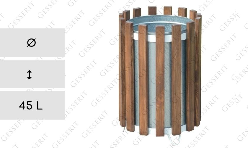 mv r wood steel brown 45 liter holz stahl braun m lleimer abfallbeh lter abfallsammler. Black Bedroom Furniture Sets. Home Design Ideas