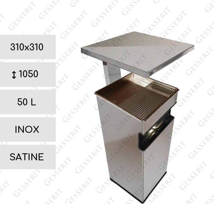 gesserit c 300 inox roof 50 liter edelstahl rostfrei geschliffen standascher standaschenbecher. Black Bedroom Furniture Sets. Home Design Ideas