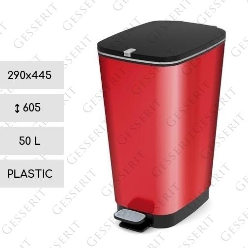 metal red pedal bin 50 liter kunststoff metallisch rot. Black Bedroom Furniture Sets. Home Design Ideas
