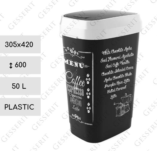 Black - white menu swing 50 liter Kunststoff Schwarz, Weiß Mülleimer ...