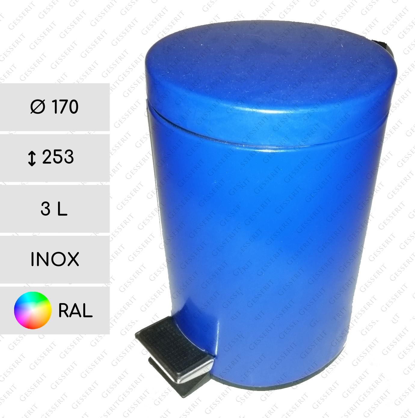 edelstahl m lleimer mit pedal 3 l edelstahl rostfrei in ral farben 170 x 253 mm. Black Bedroom Furniture Sets. Home Design Ideas
